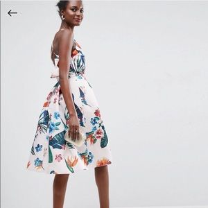 ASOS Tropical Parrot Floral Ruffle Back Midi Dress
